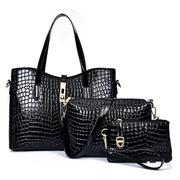 Women PU Embossing Three-piece Messenger Female Bag