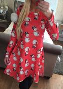 Christmas Snowman Pattern Printed Long Sleeve Dress