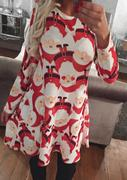 Christmas Printed Long Sleeve Swing Dress