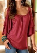 Solid Layered Ruffled Off Shoulder Trendy Blouse