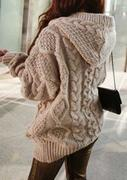 One Size Cable-Knit Hooded Cardigan