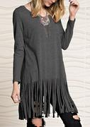 Solid Tassel Splicing Blouse Without Necklace