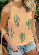Cactus Printed Sleeveless Tank