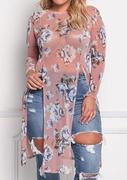 Floral See-Through Slit Hole Blouse