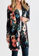 Floral Elbow Patch Cardigan without Necklace