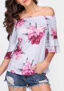 Floral Ruffled Off Shoulder Blouse
