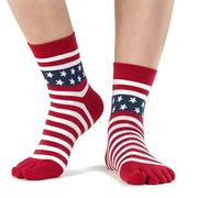 Men's Cotton Five Finger Toe Socks Star Stripe Shaped Middle Tube Sports Socks
