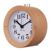 Classic Digital Table Snooze Beech Wood Alarm Clock LED Light Round Silent Home Decor