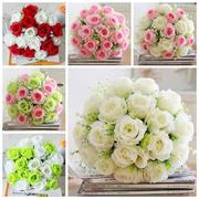 18 Heads Artificial Silk Rose Flowers Wedding Bride Bonquet Home Bedroom Decoration
