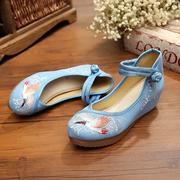 Crane Cloud Embroidery Chinese Knot National Wind Lace Up Wedge Heel Shoes