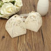 25Pcs Laser Cut Rose Hollow Out Paper Candy Favors Wedding Party Gifts Ribbon Box Bonbonniere