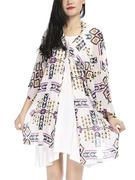 Women Sexy Rhombus Printing Bikini Cover Up Loose Chiffon Cardigan Beachwear