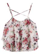 Flower Printed Chiffon Tank Tops