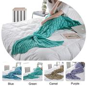 90x190cm Yarn Knitting Mermaid Tail Blanket Fish Scales Style Warm Super Soft Sleep Bag Bed Mat
