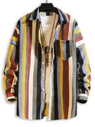 Colorful Striped Pockets Drop Shoulder Corduroy Shirt