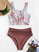 ZAFUL Ruched Knot Plant Print Tankini Swimsuit