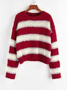 ZAFUL Colorblock Drop Shoulder Popcorn Knit Sweater