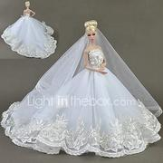 Dresses Dresses / Dress For Barbiedoll White Tulle / Lace / Silk / Cotton Blend Dress For Girl's Doll Toy