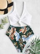 ZAFUL High Cut Contrast Knotted Leaf Swimsuit