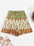 Drawstring High Waisted Floral Shorts